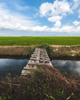 Pequena ponte de madeira cruzando um pequeno rio com um campo verde