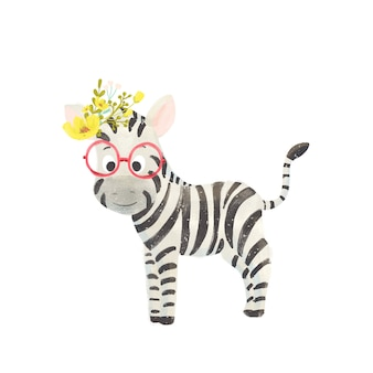 Pequena zebra bonito dos desenhos animados com uma coroa de flores e óculos