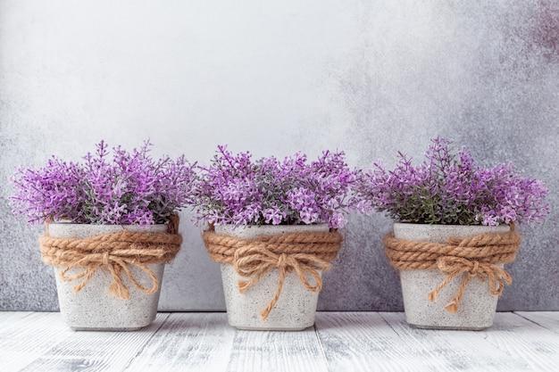 Pequenas flores roxas em vasos de cerâmica cinza em fundo de pedra estilo rústico