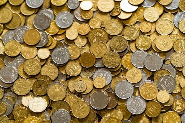 Pequenas moedas ucranianas.