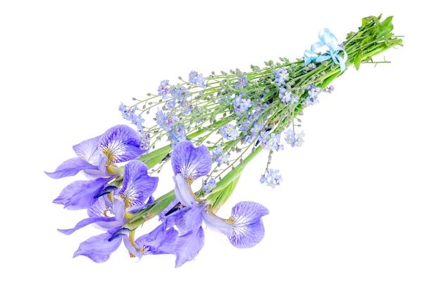 Pequeno buquê de flores azuis do jardim. foto