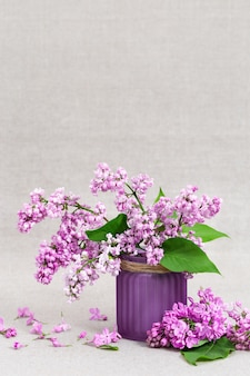 Pequeno buquê de lilás em vaso cerâmico. ramos do lilás cor-de-rosa de florescência próximos acima com espaço da cópia.