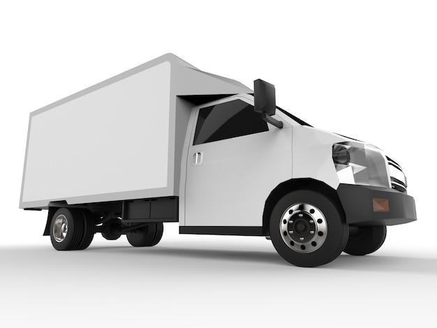 Pequeno caminhão branco. serviço de entrega de carro. entrega de mercadorias e produtos para lojas de varejo.