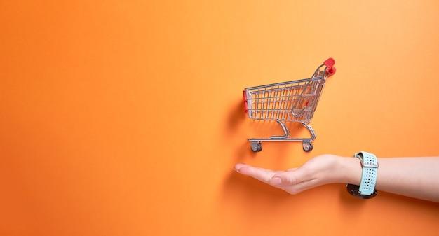 Pequeno carrinho de ferro do supermercado em um fundo laranja vazio e palmeira do homem