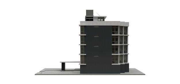 Pequeno condomínio branco-cinza com elevador e garagem