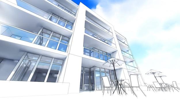Pequeno condomínio funcional com área fechada, garagem e piscina. área com guarda-chuvas para relaxar em clima quente. dia ensolarado de verão com nuvens pequenas