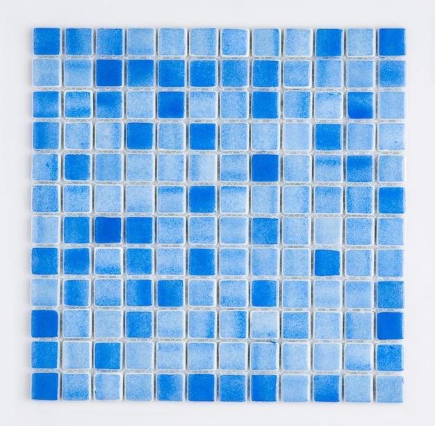 Pequeno ladrilho cerâmico azul, vista de cima, faiança. para o catálogo