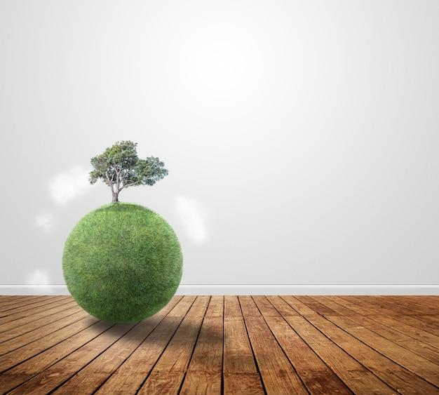 Pequeno planeta com uma árvore na madeira