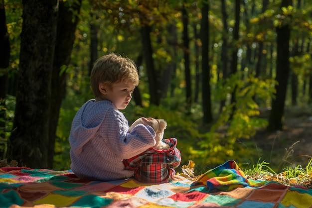 Pequeno turista feliz infância inseparável com brinquedo menino bonito criança brincar com ursinho de pelúcia brinquedo floresta b ...