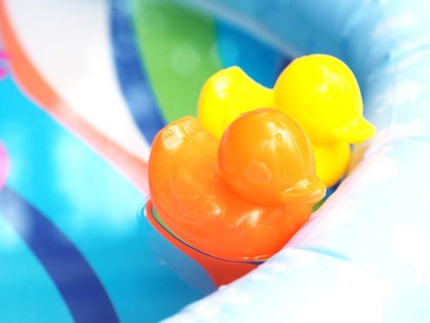 Pequenos brinquedos de pato de plástico laranja e amarelo a flutuar na água de uma piscina infantil.