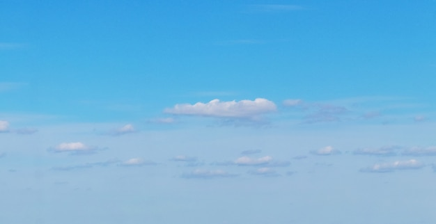 Pequenos cúmulos de nuvens brancas no céu azul