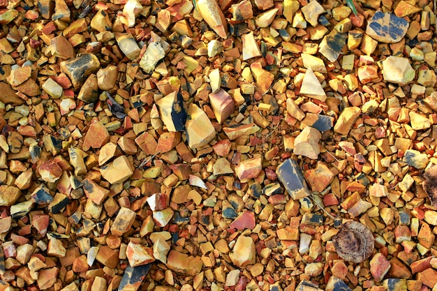 Pequenos pedaços de rocha e solo