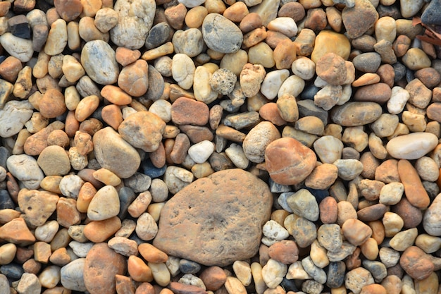 Pequenos seixos coloridos ou pedra no jardim