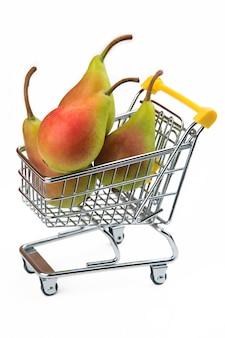 Peras no carrinho de supermercado