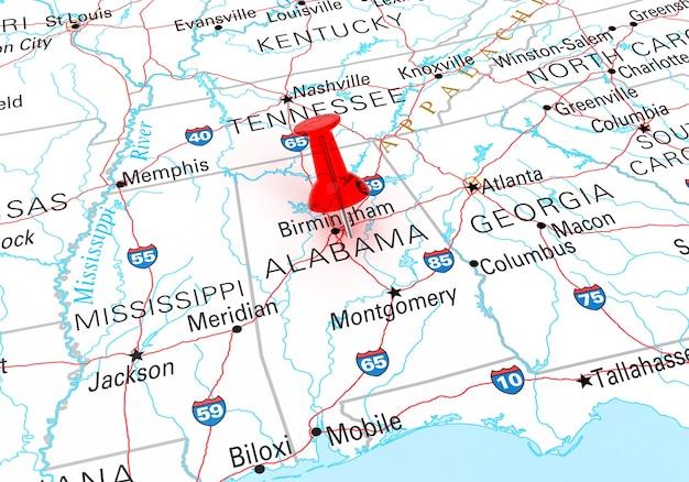 Percevejo vermelho sobre o mapa do estado de alabama dos eua. renderização 3d