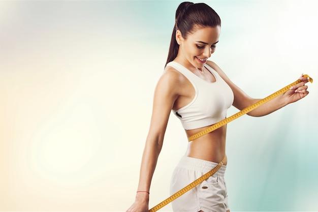 Perda de peso, corpo magro, conceito de estilo de vida saudável