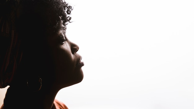 Perfil da jovem mulher encaracolado africana no fundo branco