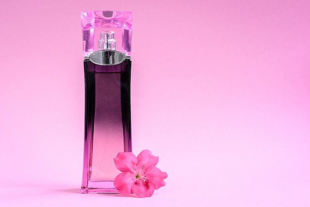 Perfume feminino na garrafa em fundo rosa.