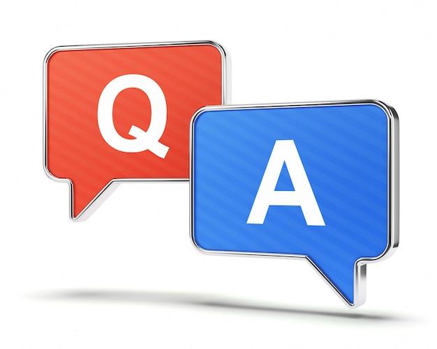 Pergunta e resposta balões de fala