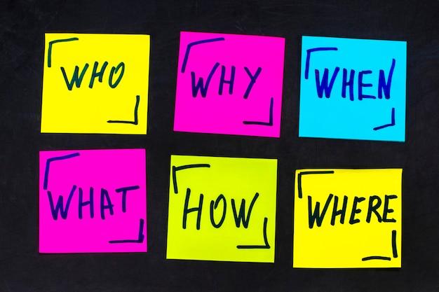 Perguntas sobre quem, por que, como, o quê, quando e onde - incerteza, brainstorming ou conceito de tomada de decisão, um conjunto de notas adesivas coloridas no fundo do quadro negro.