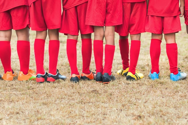 Perna, pequeno menino, futebol, equipe futebol