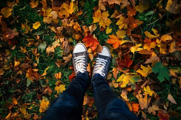 Pernas adolescentes em tênis no chão com folhas de outono