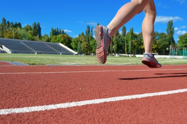 Pernas de corredor feminino em sapatos na pista do estádio, atleta de mulher correndo e malhando ao ar livre, conceito de esporte e fitness