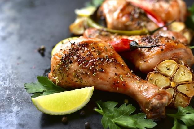 Pernas de frango grelhado