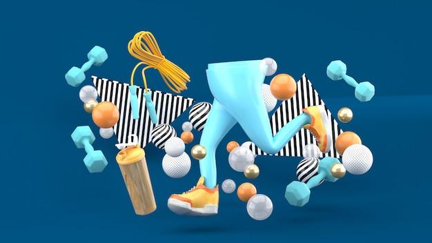 Pernas e tênis e equipamentos de ginástica em meio a bolas coloridas em azul escuro. renderização em 3d.