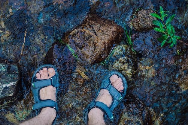 Pernas em sandálias em pedras molhadas no riacho da montanha