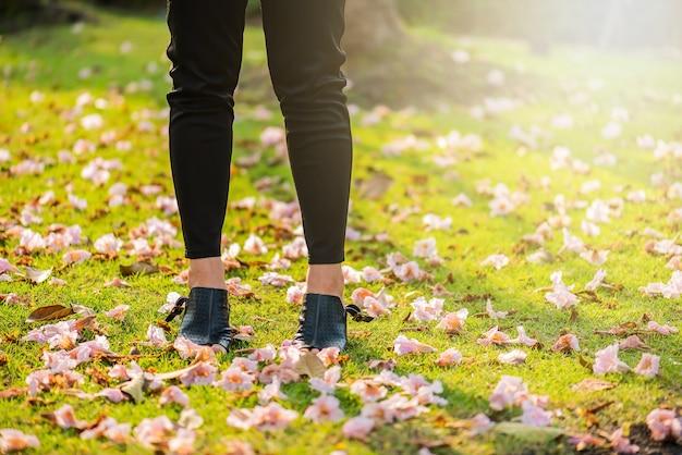 Pernas, vista, de, um, mulher, com, flowers.asian, mulher, pernas