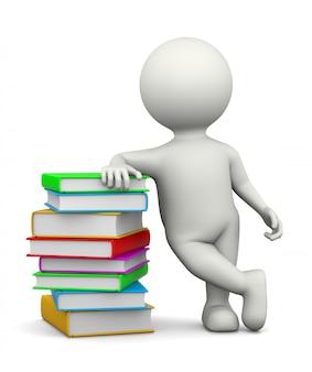 Personagem 3d branca inclinada sobre uma pilha de livros