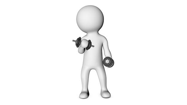 Personagem 3d branco e fitness
