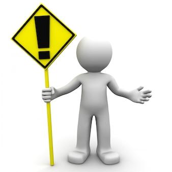 Personagem 3d com sinal amarelo de alerta