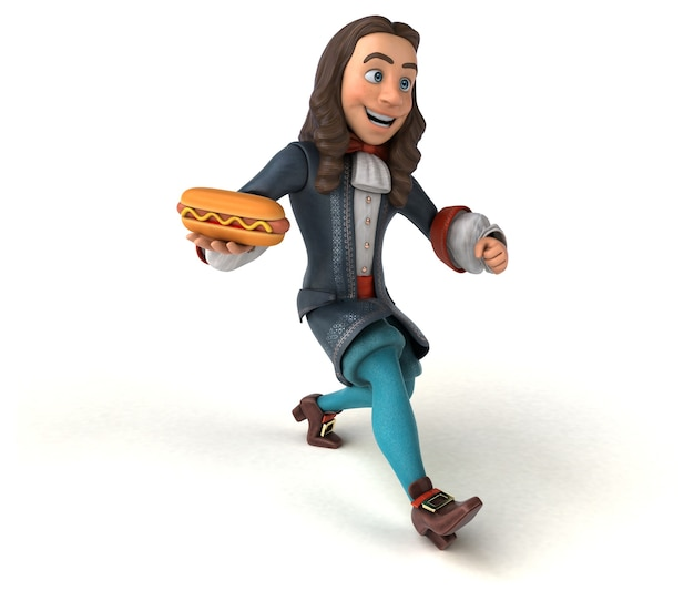 Personagem 3d de um homem de desenho animado em traje histórico barroco