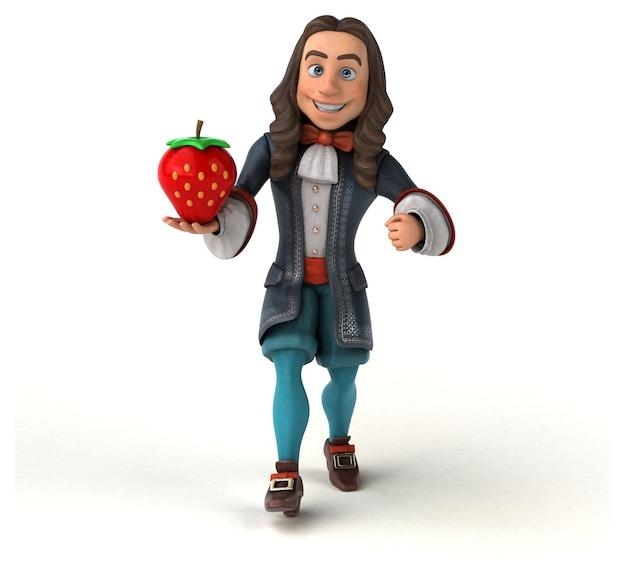 Personagem 3d de um homem de desenho animado em traje histórico barroco Foto Premium