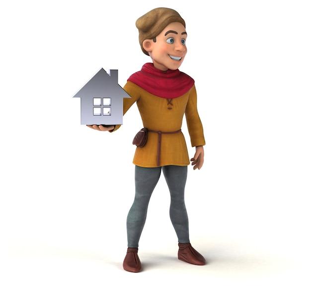 Personagem 3d de um personagem histórico medieval