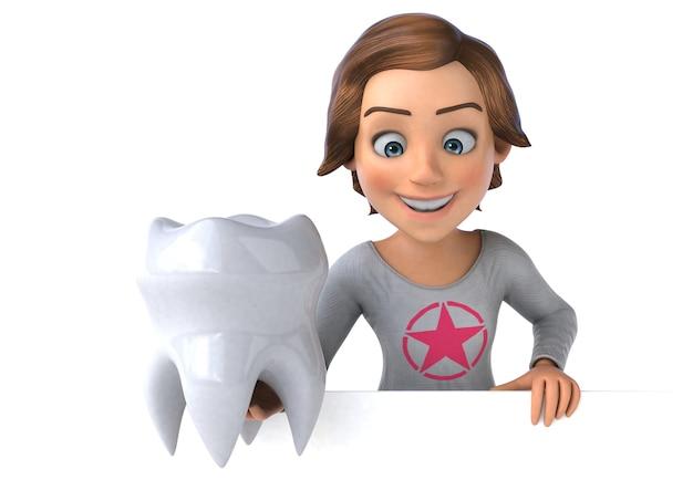 Personagem 3d divertida de uma adolescente de desenho animado