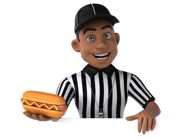 Personagem 3d divertido de um árbitro americano