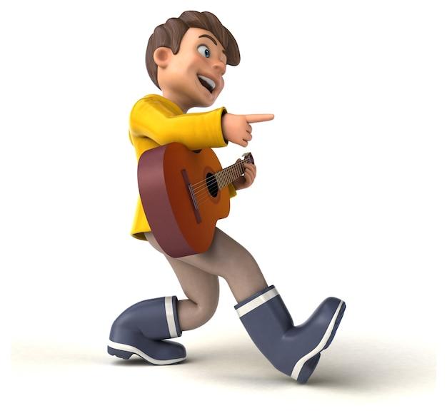 Personagem 3d divertido de um garoto de desenho animado com capa de chuva