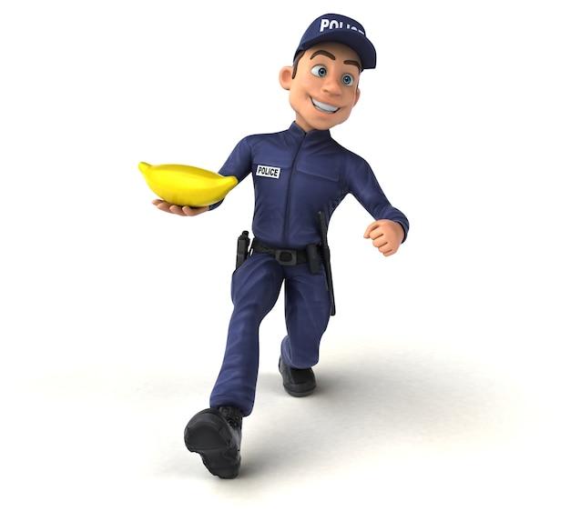 Personagem 3d divertido de um policial de desenho animado