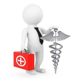 Personagem 3d médico com símbolo de caduceu médico prateado em um fundo branco. renderização 3d