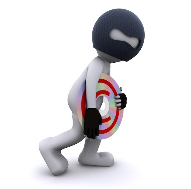 Personagem 3d roubando cd. conceito de pirataria de dados