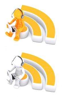 Personagem 3d sentado no símbolo rss