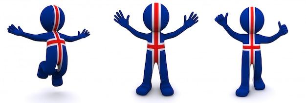 Personagem 3d texturizada com bandeira da islândia