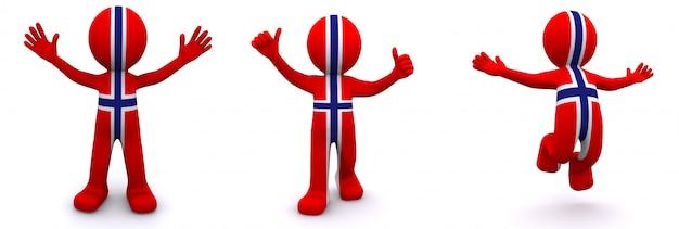 Personagem 3d texturizada com bandeira da noruega