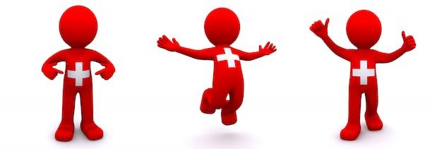 Personagem 3d texturizada com bandeira da suíça