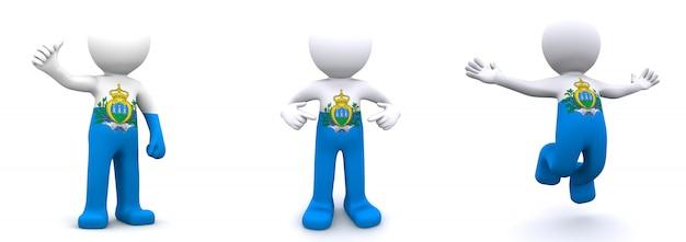 Personagem 3d texturizada com bandeira de san marino