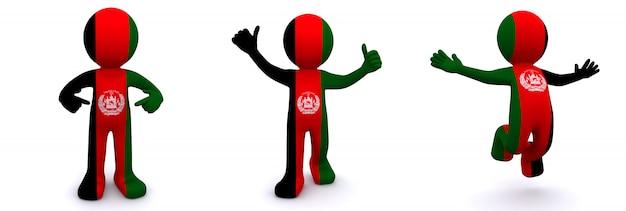 Personagem 3d texturizada com bandeira do afeganistão