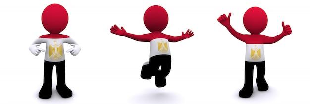 Personagem 3d texturizada com bandeira do egito
